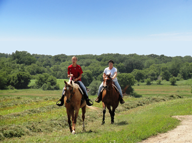 riding on the farm at Dakota Stables