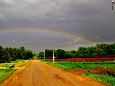 rainbow at farm at Dakota Stables